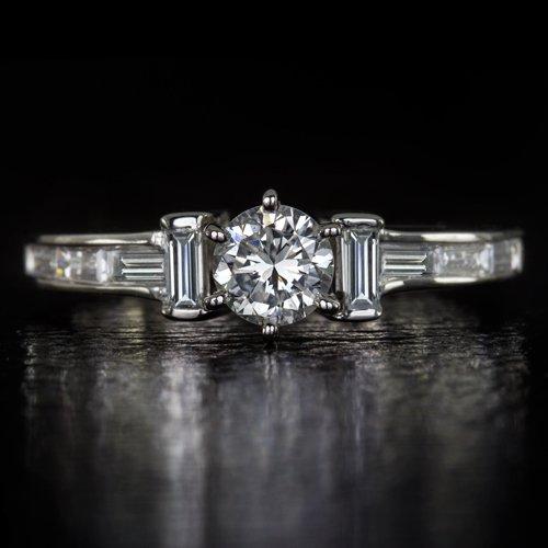 1ct ROUND BRILLIANT CUT DIAMOND ENGAGEMENT RING VVS BAGUETTES 14K WHITE GOLD RBC