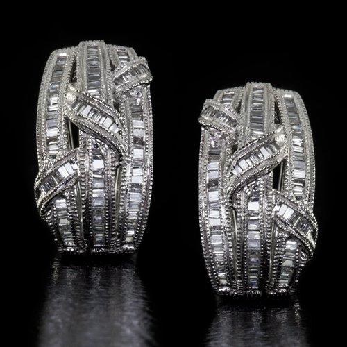 1.50ct BAGUETTE DIAMONDS VINTAGE MILGRAIN G VS NATURAL EARRINGS 14K BIG OMEGA 8G