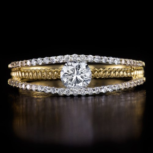 IDEAL CUT 3/4ct ROUND DIAMOND F COLOR ENGAGEMENT RING COCKTAIL YELLOW GOLD BAND
