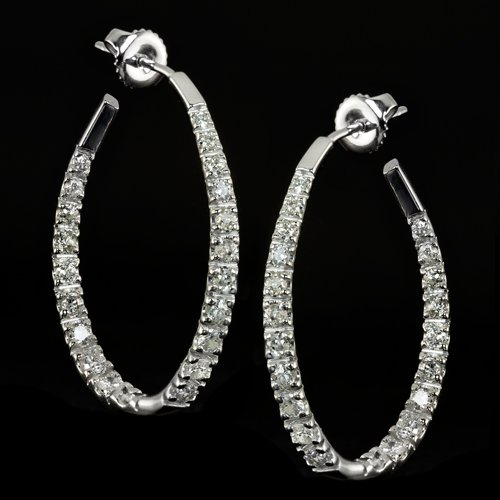 1.80ct NATURAL DIAMOND IN AND OUT HOOP EARRINGS G SI 14K WHITE GOLD ROUND INSIDE