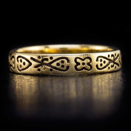 VINTAGE SIGNED BRUSHED WEDDING BAND ENGRAVED STACKING RING 18K YELLOW GOLD OLD
