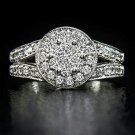 DIAMOND ENGAGEMENT RING F COLOR 0.89c CLUSTER HALO VG CUT COCKTAIL MILGRAIN 14K