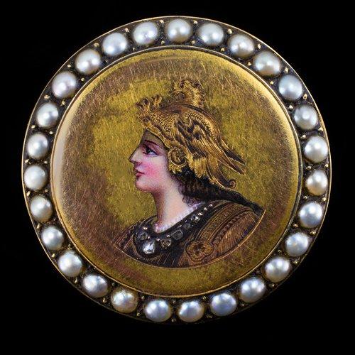 RARE VICTORIAN MINERVA PORTRAIT ANTIQUE ROSE CUT DIAMOND PEARL OLD PIN 14K GOLD