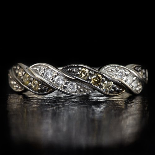 FANCY CHOCOLATE WHITE DIAMOND WEDDING BAND STACKING COCKTAIL RING 14K WHITE GOLD