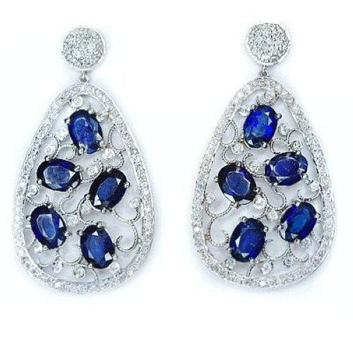 10 CT SAPPHIRES 1.5 CT DIAMONDS FILIGREE ART DECO EARRINGS DANGLE PEAR DROP 12gm