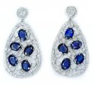 10 CT SAPPHIRES 1.5 CT DIAMONDS FILIGREE ART DECO EARRINGS DANGLE PEAR DROP 12gm
