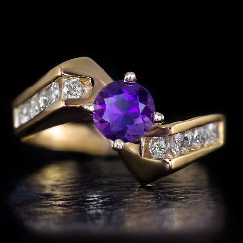 IDEAL CUT ROUND DIAMONDS F SI PURPLE AMETHYST 14 KARAT YELLOW GOLD COCKTAIL RING