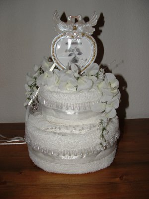 Two Tier Wedding/Bridal Shower Towel Cake