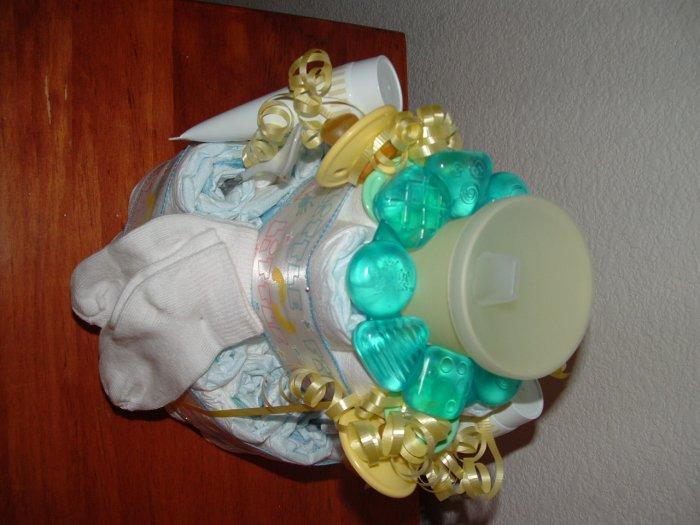 Neutral Baby Diaper Cake 2 tier