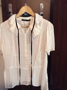 Zara woman frilled tie neck blouse ecru S, L BNWT