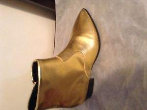ZARA WOMAN Gold ANKLE BOOTS BNWT BLACK US 6