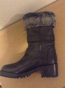 Zara woman genuine leather biker boots with faux fur lining black 6 US BNWT