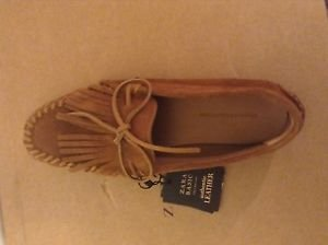 Zara woman leather loafers with fringes BNWT 9 US Tan mocassin