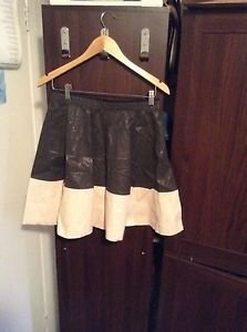 Zara Bloggers Fav Faux Leather Combination Skirt BNWT M BROWN