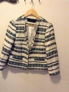 Zara Zipped Striped Blazer Jacket green/Ecru BNWT L
