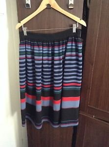 Zara woman multicoloured stripe Full midi Skirt BNWT L