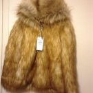 Zara woman faux fur hooded coat BNWT Caramel S, M