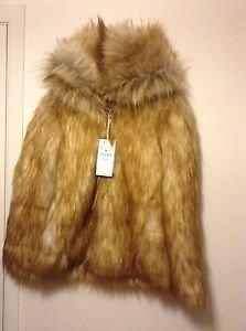 Zara woman faux fur hooded coat BNWT Caramel S, M