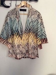 Zara woman Printed Kimono BNWT green/yellow 2015 collection M