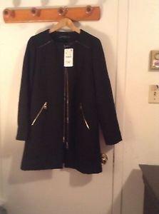 ZARA WOMAN BLOGGERS FAVOURITE ZIPPED ROUND NECK COAT BNWT XL BLACK