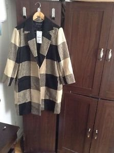 ZARA WOMAN BLOGGERS FAVOURITE TARTAN PLAID CHECKED COAT BNWT L