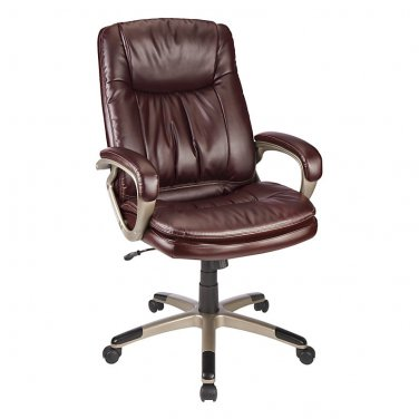 Realspace Harrington II High-Back Chair, Burgundy/Champagne