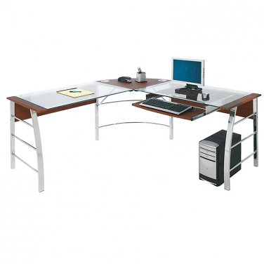 "Realspace Mezza ""L""-Shaped Glass Computer Desk, 30""H x 61 1/2""W x 61 1/2""D, Cherry/Chrome"