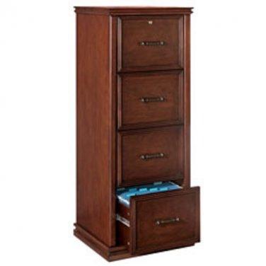 "Realspace Premium Wood File Cabinet, 4 Drawers, 55 2/5""H x 21""W x 18 9/10""D, Dark Cherry"