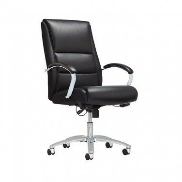 Realspace Morgan High-Back Bonded Leather Chair, Black/Chrome