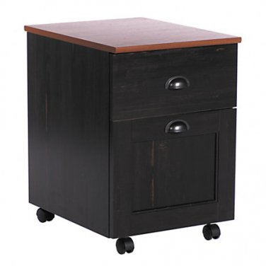 "Realspace Shore Mini Solutions Rolling Pedestal File, 22 1/4""H x 15 1/2""W x 19 1/2""D, Antique Black"