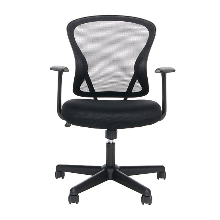 OFM Essentials Swivel Mesh Mid-Back Task Chair, Adjustable Arms, Black/Silver