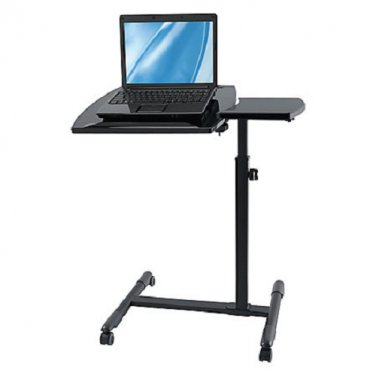 "Brenton Studio Zarty Split-Top Mobile Laptop Cart, 28 1/8""H x 27 3/4""W x 15 3/4""D, Black Gloss"