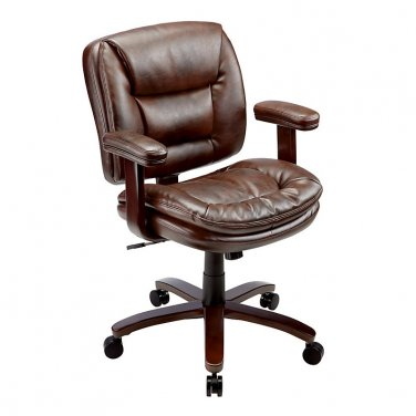 Realspace Elmhart Low-Back Bonded Leather Task Chair, Cherry/Espresso