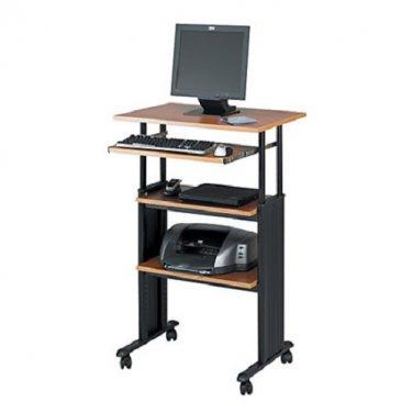 Safco Muv Adjustable Stand-Up Workstation, Black/Oak