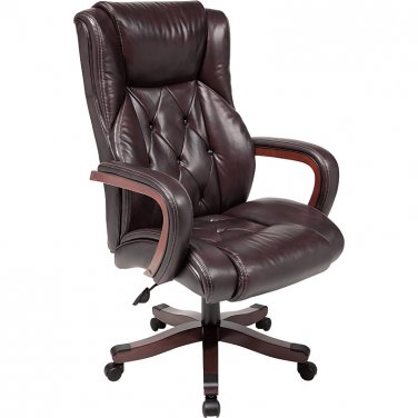 Realspace Carlton Executive Big & Tall Bonded Leather Chair, Espresso/Versailles Cherry