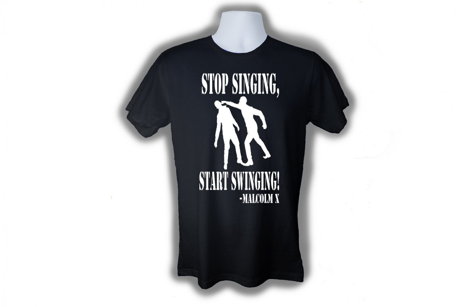STOP SINGING AND START SWINGING MALCOLM X T-SHIRT (M)