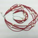 freshwater 8-9mm rice pearl necklace and bracelet set with  red leather cord,00040XM