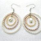 rice freshwater pearl dangle  earring in three circle design,fish hook back,00109EM