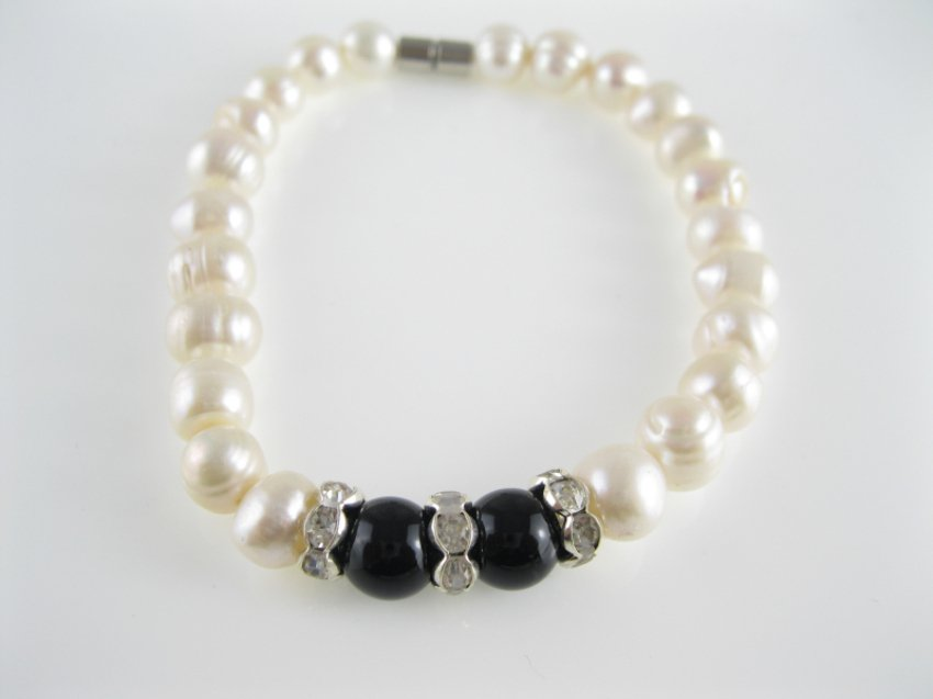 freshwater circle pearl and black agate bead bracelet with rhinestone spacer,00534SC