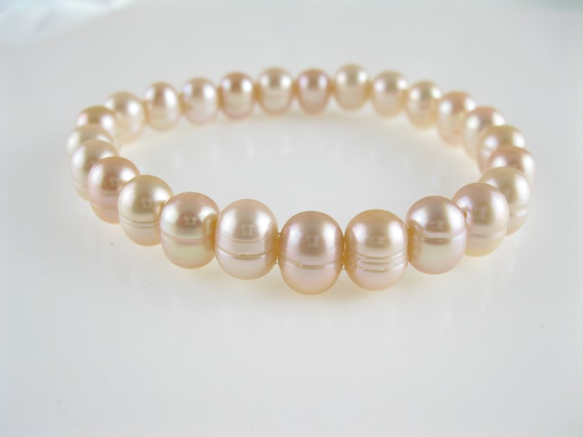 freshwater natural pink circle pearl elastic bracelet,,00533SC