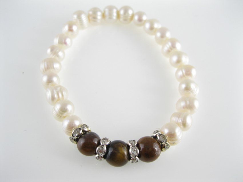 china freshwater authentic circle  pearl and agate bead bracelet,00532SC