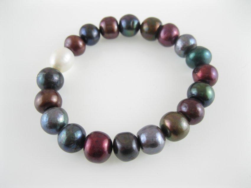freshwater near round multicolor pearl stretch bracelet,00527SC