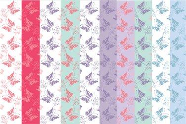10 Digital Scrapbook Paper Butterfly Pattern Pastel Colors