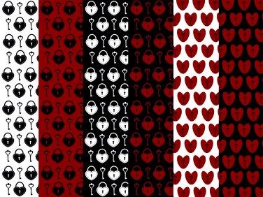 12 Digital Scrapbook Paper Heart Padlock Key Love Pattern