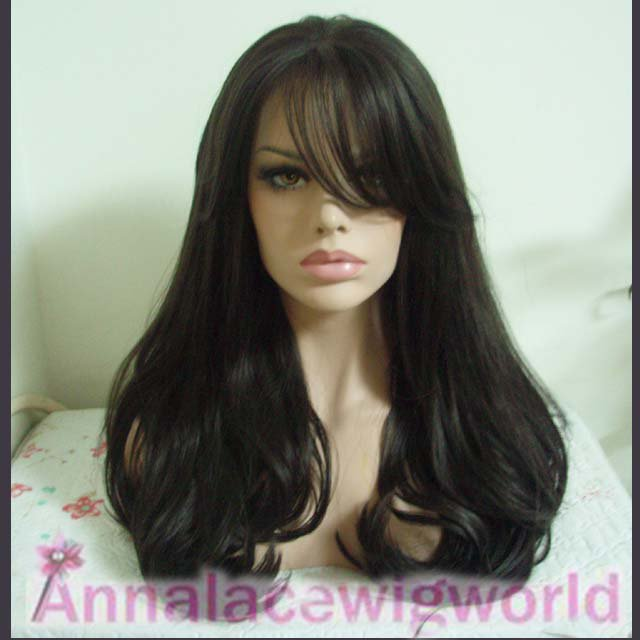 free shipping synthetic black lace front wig for women