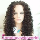 FASHIONAL Synthetic Spanish Curl Black Lace Front Wig