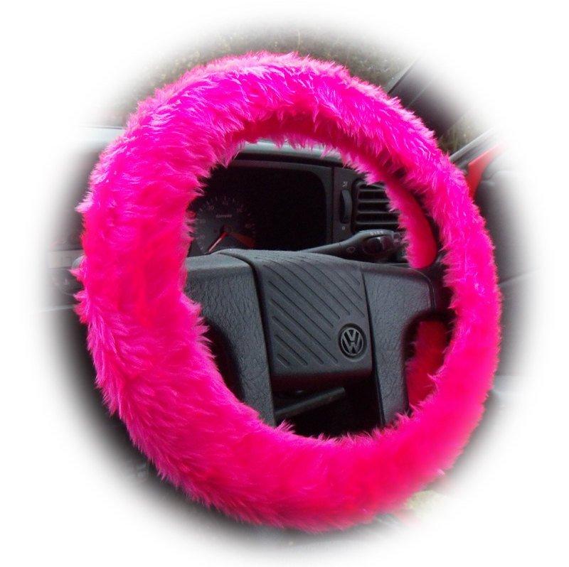 Barbie Pink fuzzy car steering wheel cover