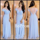 Short Sleeve Prom Dress, Long Prom Dresses,Blue Evening Dress