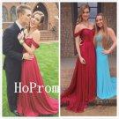 Long Prom Dress,Chiffon Prom Dresses,Red Evening Dress