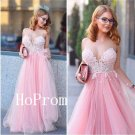 Long Prom Dress,Sweetheart Prom Dresses,Pink Evening Dress